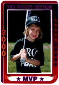 Rebecca's T-Ball Card Picture from Summer 2000